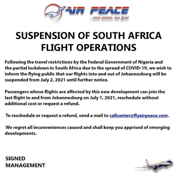 Covid-19: Air Peace Suspends Flights To Johannesburg, South Africa