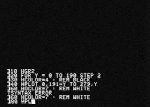 Apple II, riprende l'estetica dello schermo degli Apple II