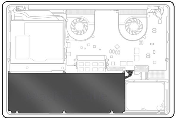 interno di un MacBook unibody e accesso alla batteria per la sostituzione