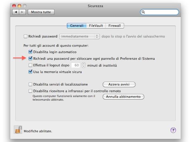 richiedi password per sbloccare