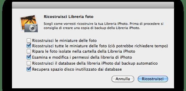 ricostruire libreria iphoto 09