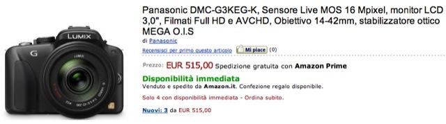 Panasonic G3 offerta