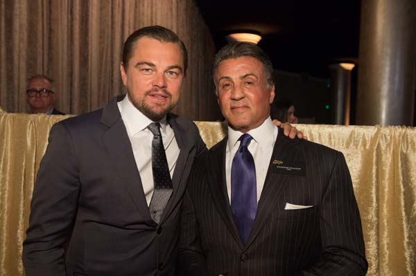 From Left to Right: Oscar® nominees Leonardo DiCaprio and Sylvester Stallone at the Oscar® Nominees Luncheon in Beverly Hills Monday, February 8, 2016. The 88th Oscars®, hosted by Chris Rock, will air on Sunday, February 28, live on ABC.