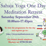 Sahaja Yoga Meditation – Special One Day Retreat – Saturday Sept 29th 2018