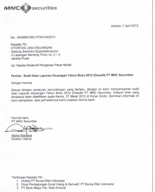 Tanggal publikasi laporan keuangan