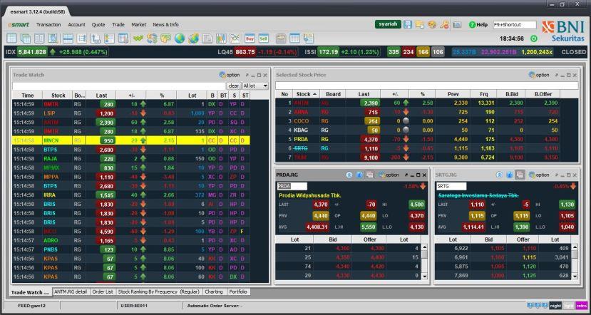 Aplikasi trading saham online - E-Smart v3 - Desktop