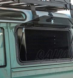 land rover defender puma gullwing box the front runner gullwing box is used in conjunction with the front runner gullwing window glass or front runner  [ 1200 x 800 Pixel ]