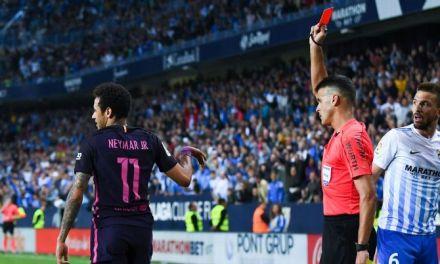 Barcelona stunned at Malaga as Neymar gets sent off