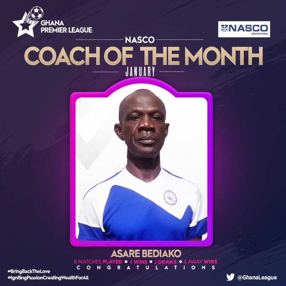 Berekum Chelsea's Asare Bediako wins Nasco Coach of the Month