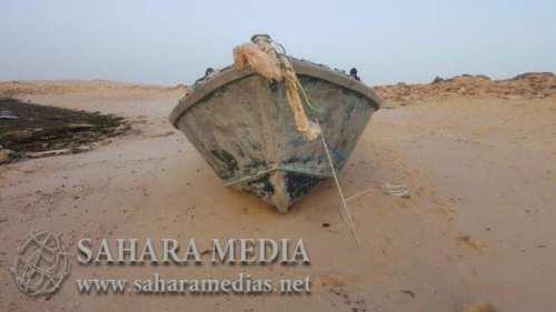 الزورق بعد العثور عليه من طرف خفر السواحل الموريتانية - صحراء ميديا