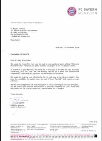 رسالة من النادي يؤكد فيها قبول إنشاء الرابطة
