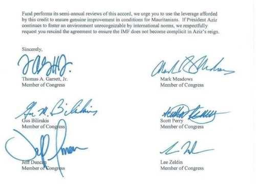 توقيعات أعضاء مجلس الشيوخ الأمريكي في نهاية الرسالة