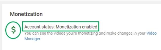 MONETIZATION STATUS ENABLED