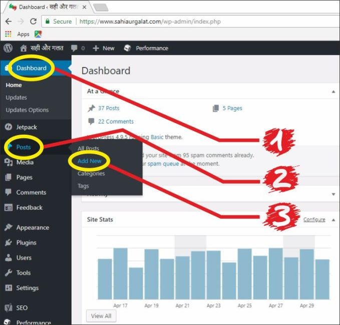 Log into wp dashboard and click on add post