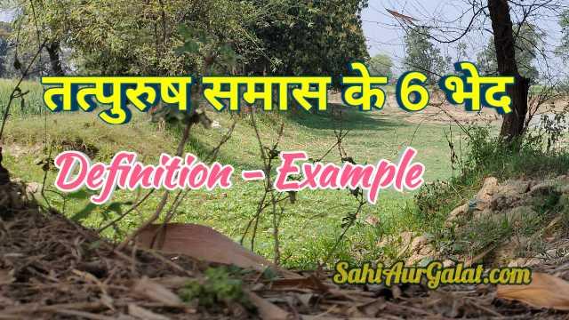 तत्पुरुष समास के 7 भेद और उदाहरण : Sahi Aur Galat