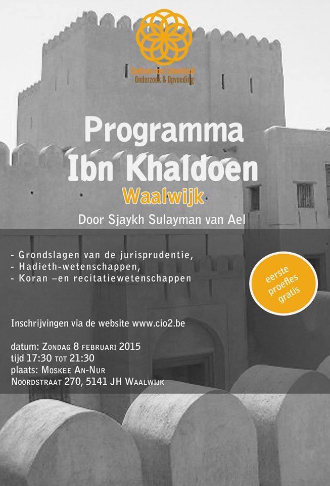 Shaykh Sulayman van Ael CIO2 Waalwijk Programma lessen Ibn Khaldoen