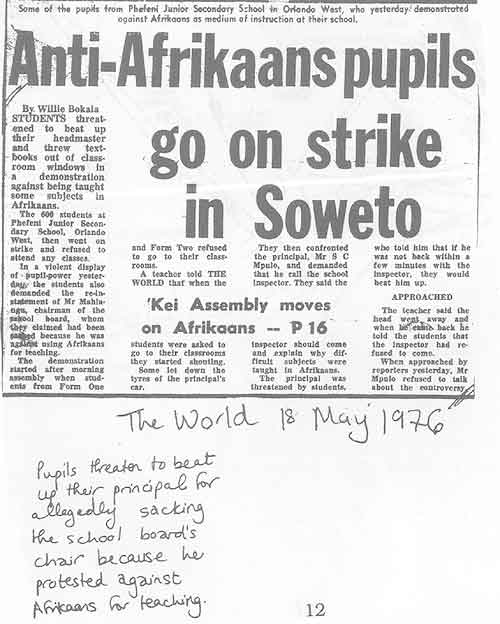 'Anti-Afrikaans pupils go on strike in soweto', Bokala, W