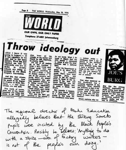 Burg, J. (1976) 'Thow ideology out', The World, 26 May, p