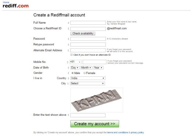 rediffmail.com first register page