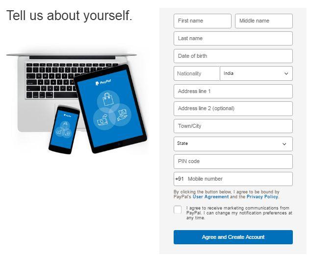paypal registration tarika
