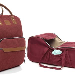 kırmızı portbebe ve bebek bakım çantası