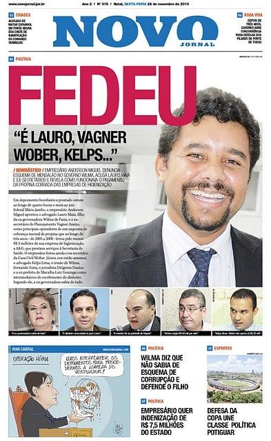 Capa do Novo Jornal sobre delação do homem-bom da operação Hígia