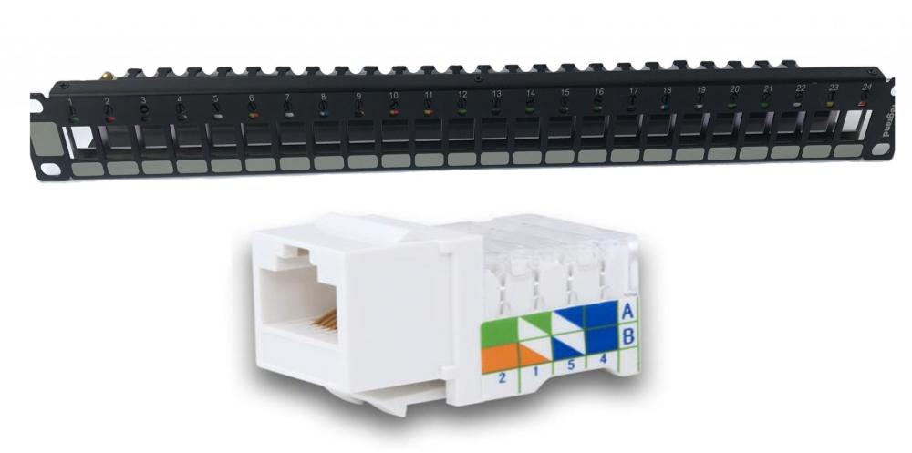 medium resolution of patch panel cat 5e accept keystone jacks with rear plastic cable and rotative color wheels