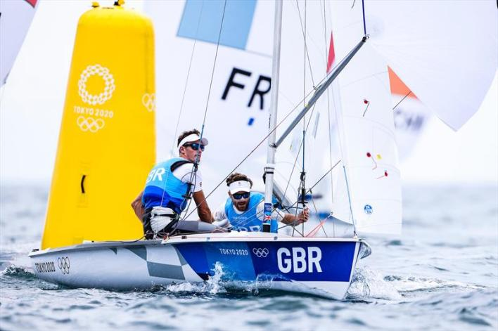 Luke Patience & Chris Grube (GBR) in the Men's 470 on Tokyo 2020 Olympic Sailing Competition Day 6 - photo © Sailing Energy / World Sailing