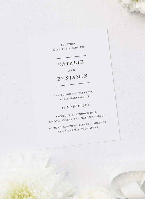 Simple Writing White Wedding Invitations Sail and Swan