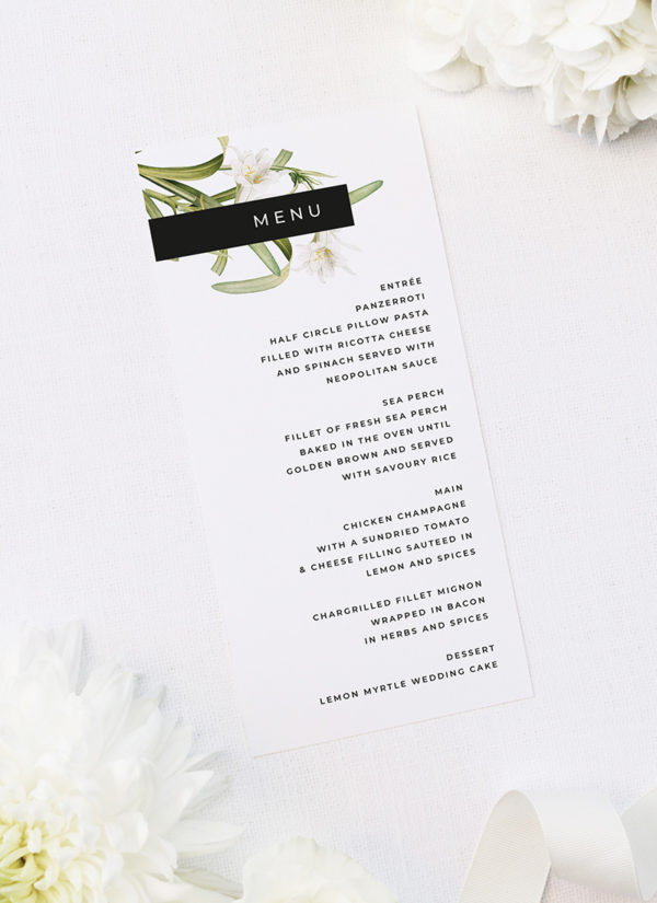 Modern Lily Flower Wedding Invitations by Sail and Swan