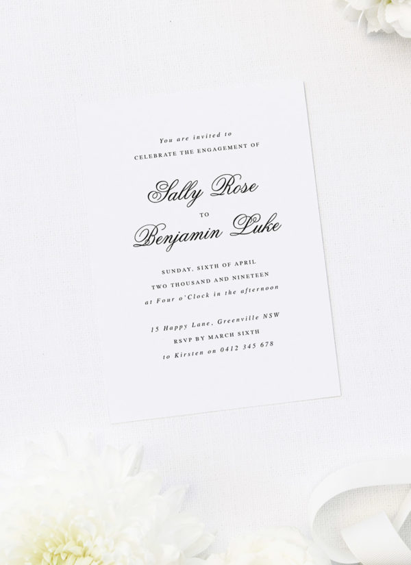 Formal Cursive Calligraphy Script Engagement Invitations