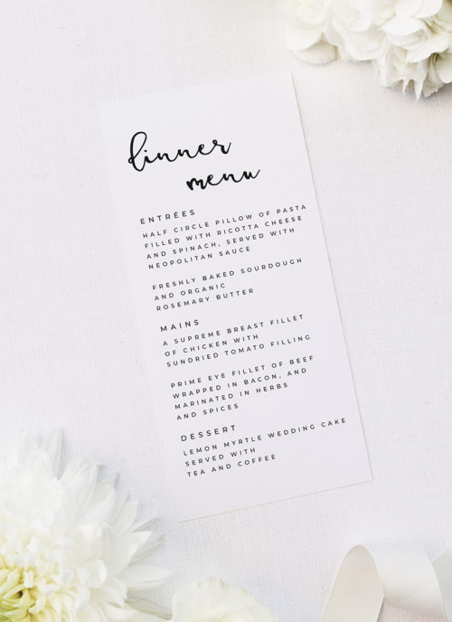 Loose Free Cursive Writing Modern Minimal Wedding Menus