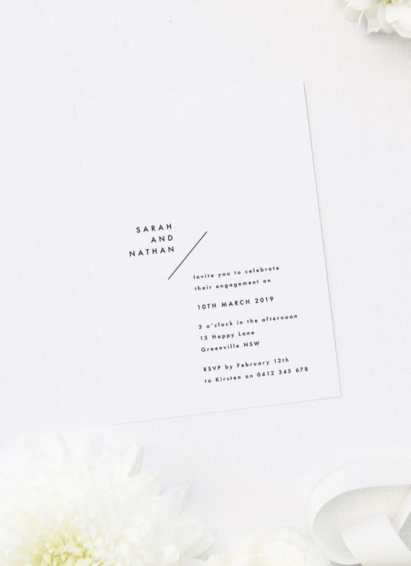 Side Names Modern Layout Engagement Invitations by Sail