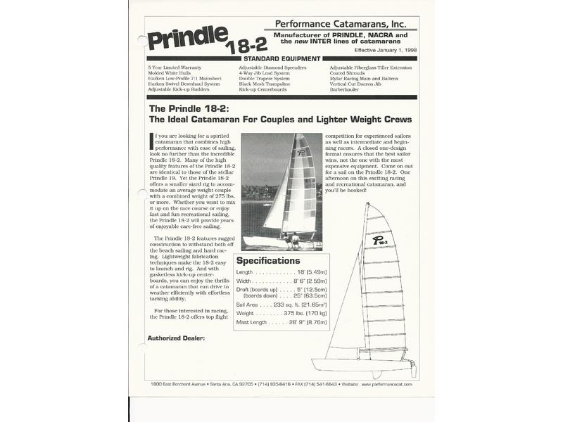 1991 Performance ZCatamaran Prinde 18-2 sailboat for sale