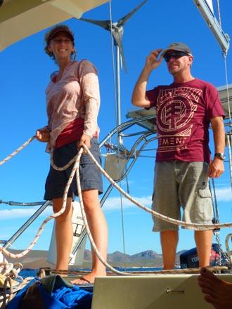 Rick and Suzi sailing aboard Wendy Ellen