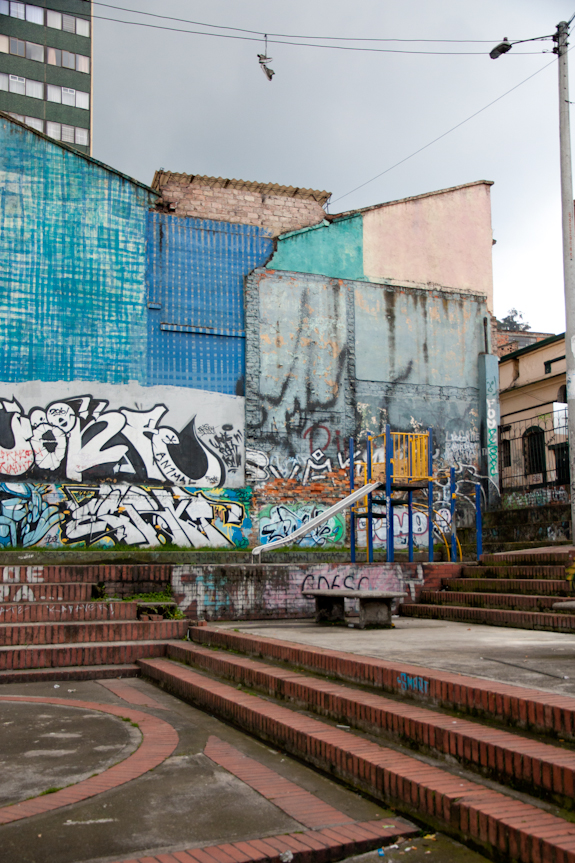 Playground and Graffiti in Bogota, Colombia's La Candelaria District