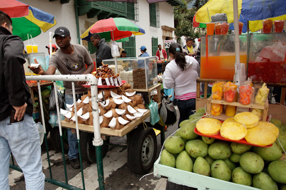 Fresh Fruit and Juice Carts in Bogota, Colombia