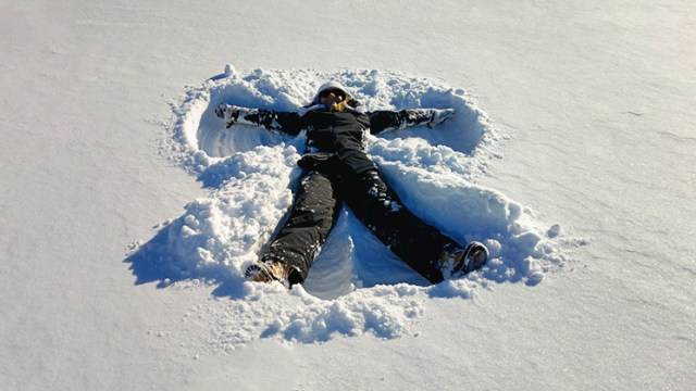 Two feet of snow demands a snow angel.