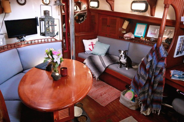 Newly covered salon cushion aboard SV Chancelot modernize the interior.modernize the interior