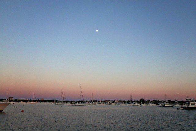 Moonrise over the Great Salt Pond in Block Island, RI.
