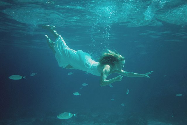 Swimming with the fish on your wedding day.