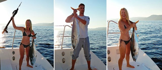 You can catch big fish with a hand line off the back of a cattamaran