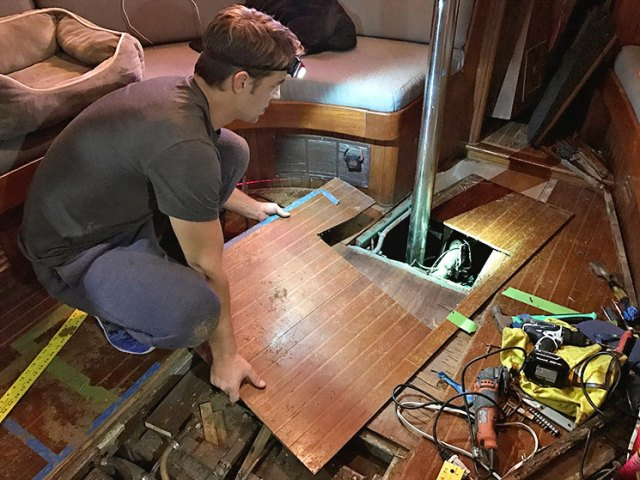 Separating the hardwood from the plywood aboard our sailboat was a time consuming project.