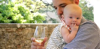 Dad and baby at Italian winery