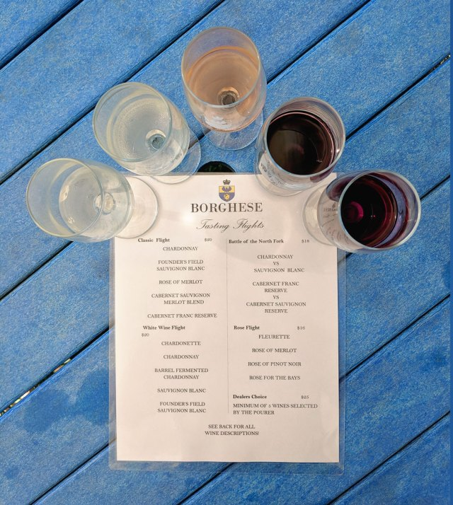 The classic wine tasting flight at Borghese Vineyard during our Long Island wine tour by boat.