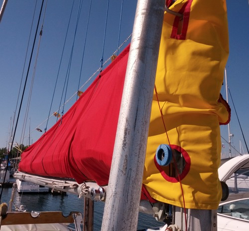 Front edge of Sail Pack showing Mast Wrap with holes for winches