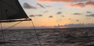 Night falls mid-ocean