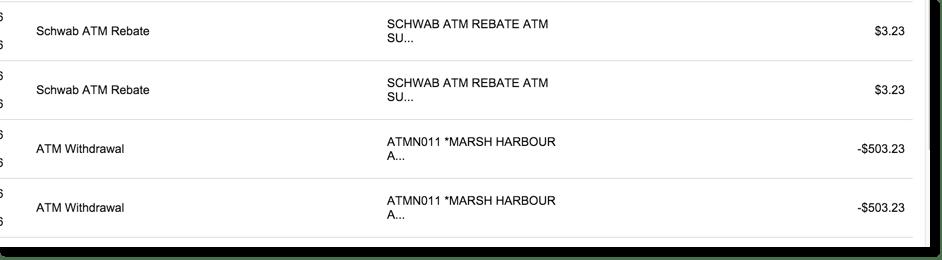 No bank fees at Charles Schwab