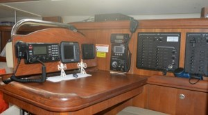 The comfortable nav station on Wind Ryder.
