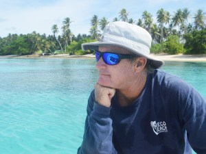 Vice Commodore Cary Evarts wears one of the MBYC's long-sleeved T-shirts at Enemanet Island. Photo: Karen Earnshaw